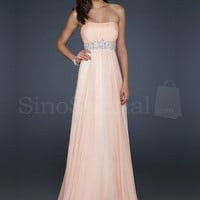 Pearl Pink Strapless Neckline Sequins Chiffon Floor Length Graduation Dress