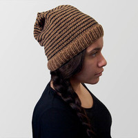 hand knit wool free slouchy beanie -- tan with black stripes