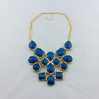New Ladies Gold Plated Chain Beads Chunky Bib Necklace Choker Callor Blue