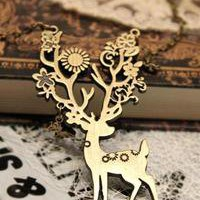 N1286 Retro Antique Style Sika deer Pendant Long Necklace Free Shipping