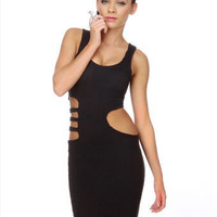 Sexy Black Dress - Cutout Dress - Stretchy Dress - $73.00