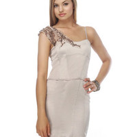 Sultry Taupe Dress - Beaded Dress - Appliqu? Dress - $83.00