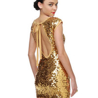 Sexy Gold Dress - Sequin Dress - Open Back Dress - $83.00