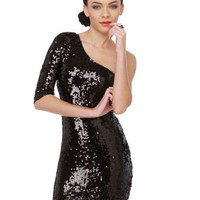 Black Sequin Dress - One Shoulder Dress - Little Black Dress - $89.00