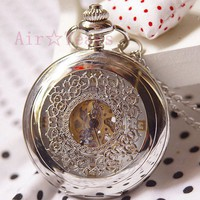 Steampunk Retro Silver Rose Garden(White dial) Mechanical Pocket Watch