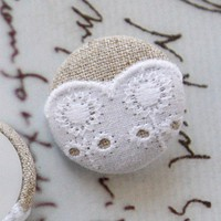 5 Natural Linen Cotton Fabric White Sprout Embroidery Lace Buttons
