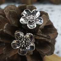 Popular Metal Silver Blossom Young Persons Earrings : Wholesaleclothing4u.com
