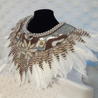 Feather bib necklace, Large Statement beaded metallic neck piece with vintage rhinestone jewelry.