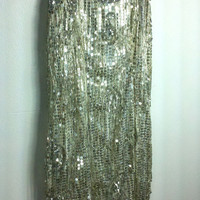 Zelda Beaded Ivory Silver Sequin Flapper Fringe Mini Dress