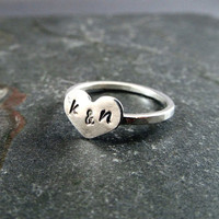 Personalized Sterling Silver Heart Ring with Initials EtsyXo, Sweetheart Ring, Heart Ring