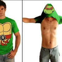 TMNT Teenage Mutant Ninja Turtles Raphael Costume Flip Green Adult T-shirt Tee
