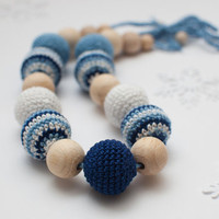Nursing necklace / Teething necklace Blue Light blue by SvetlanaN
