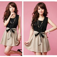 Sleeveless Chiffon Dress With Belt Bow tie