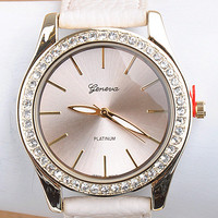 Elegant Round Watch w/Crystals-White