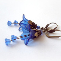 Indigo Blue Vintage Flowers Frosted Lucite Flower by earringsAND