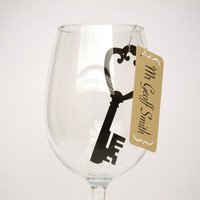 20 Place Cards Key to my Heart Wine Glass Decor by MamaTita