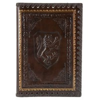 Lions Refillable Leather Journal with Embossed Lion Crest, Gold Edge Sheets, Lined, 6x8
