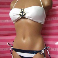 NEW Nautical VICTORIAS SECRET Anchor Sequin Molded Bandeau Bikini S M L