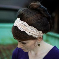 caramel Cream stretch Lace headband Classic by GarlandsOfGrace