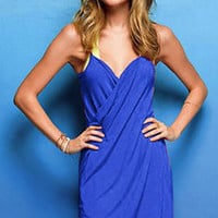Blue Sexy Open-Back Wrap Front Summer Lady Swimwear Bikini Cover Up Beach Dress