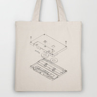 Exploded Cassette Tape Tote Bag by Revital Naumovsky | Society6