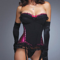 Black Ruffle Trim Corset, Black and Pink Satin Corset, Coquette, Angel Bodywear