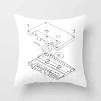 Exploded Cassette Tape Throw Pillow by Revital Naumovsky | Society6
