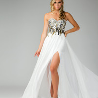 Mac Duggal Prom 2013- Gold Top Ivory Dress - Unique Vintage - Cocktail, Pinup, Holiday & Prom Dresses.