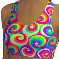 60's Swirl White & Neon Colored Printed Athletic Sports Bra