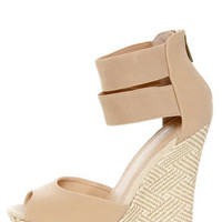 Bamboo Pompey 37 Natural Ankle Cuff Woven Platform Wedge Sandals