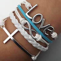 Unisex  simple fashion silver 8 infinity wish, LOVE and cross bracelet--white,blue wax rope and white Leather braided leather bracelet