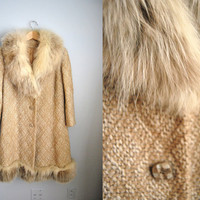 Muted Love - Vintage 50s Arctic Fox Fur Trim Swing Coat Winter Jacket