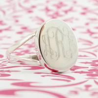Monogrammed Ring in Sterling Silver for Women or by netexchange