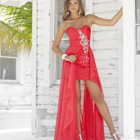 Persimmon Pleated Chiffon Rhinestone Strapless Sweetheart Sassy Prom Dress - Unique Vintage - Cocktail, Pinup, Holiday &amp; Prom Dresses.