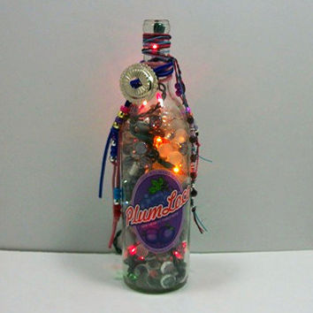 Up Cycled Wine Bottle Lights - Wine Bottle Decorations - Lighted Bottle