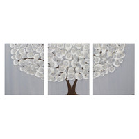 Contemporary Art - Gray Home Decor Tree Painting - Original Artwork - 35X14 Medium - Triptych Canvas Art - IN STOCK
