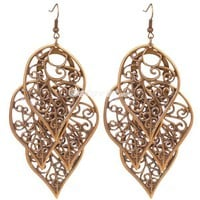 Vintage Hollow-Out Leaf Dangle Earrings at Online Cheap Vintage Jewelry Store Gofavor