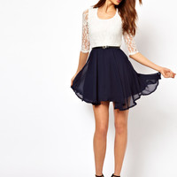 Paprika Lace Belted Skater Dress
