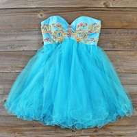 Minted Jewels Party Dress Turquoise, Sweet Women's Party Dresses