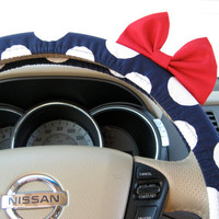 Navy Blue Polka Dot Steering Wheel Cover with by BeauFleurs
