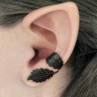 Dark Forest Left Ear Cuff  Black Leaves Filigree by RavynEdge