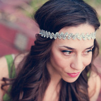 Silver Boho Lace and Sequin Headband by bethany lorelle on Etsy