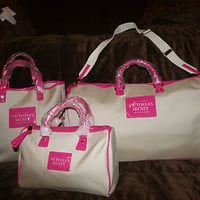 RARE! Victorias Secret Weekender Get Away Canvas Bag Luggage Tote Purse Set Pink