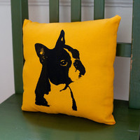 Boston Terrier pillow handmade dog portrait dog art by alfieandrex