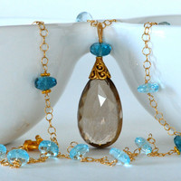 Golden Rutilated Quartz Sky Blue Topaz London Blue by luxurybyvera