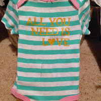 all you need is love Onesuit. heart. love. valentines day. turquoise and white stripe. pink detail. gold wording. OOAK.