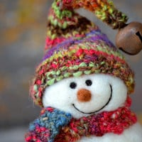 Snowman - Wool Needle Felted Snowmen - Holiday decor - 184