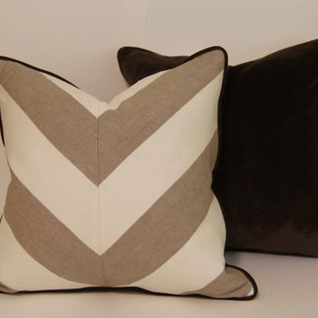 Etsy White Throw Pillow : Linen Beige and White Chevron Throw from CCDeuxVie on Etsy For