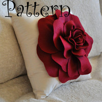 Large Felt Rose with BONUS Pillow PDF Pattern Tutorial by bedbuggs