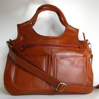 Leather Handbag Satchel Tote Btrown.. on Luulla